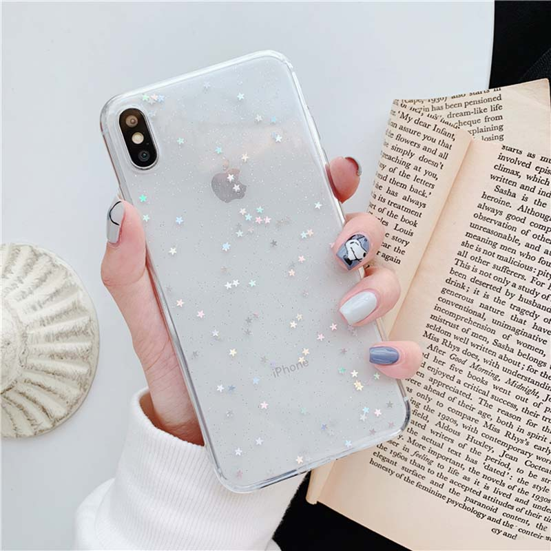 Bling Star Glitter Clear Silicone iPhone Case